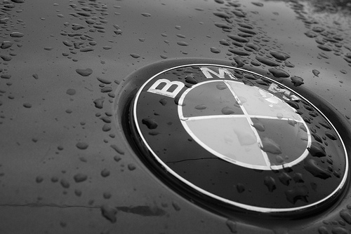BMW logo in rain