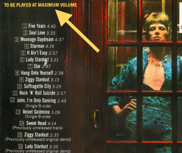 Ziggy Stardust cover back