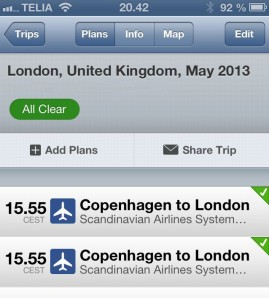 Typical Tripit flight status. These green checkmarks is what you want to keep seeing!