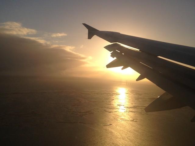 Glorious golden sunlight on approach to CPH